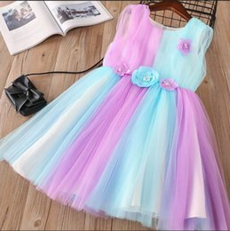 Wholesale Rainbow Flower Bow - Everweekend Girls Bow Pearls Flower Tutu Ruffles Dress Princess Rainbow Candy Color Korean Fashion Spring Autumn Party Clothes