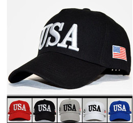 Wholesale United Hat - The Flag Of The United States Letter USA Cap Snapback Sports Hats Fashion Adult Adjustable Donald Trump Hat KKA4050
