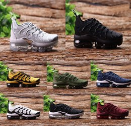 Wholesale Metallic Packing - 2018 Vapormax TN Plus Olive In Metallic White Silver Colorways Shoes Men Shoes For Running Male Shoe Pack Triple Black Mens Shoes