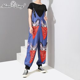 Women's Clothing 2018 New Off The Shoulder Strap Women Jumpsuits Rompers Graffiti Printed Hip Hop Dance Pants Trousers Loose Cartoon Rompers Great Varieties
