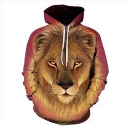 Rey león sudadera con capucha online-Moda Digital Print Lion King sudadera con capucha para hombres Blonde Legendary Lion King 3D Print Casual sudadera con capucha Sudadera Pullover