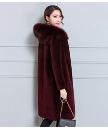 Wholesale Sheep S Wool - 2017 autumn and winter new sheep sheared fur coat female long section Haining fox fur wool coat hooded one
