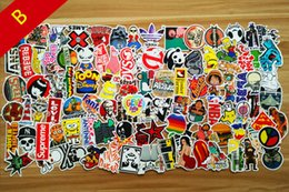 Wholesale popular guitars - Popular Sale 100PCS   Pack New Car Stickers Skateboard Guitar Travel Case bicycle motorcycle sticker Car decal individuality fashion sticker