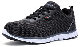 Wholesale Safety Shoes Black - men modyf safety working shoes steel toe cap shoes lightweight air mesh breathable trekking shoes size EU39-46