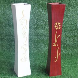 vases en bois Promotion Vase En Bois Salon Décoration De Sol Fleur Baril Ameublement Haute 60cm Arrangement De Vase En Bois Artisanat ZA6147