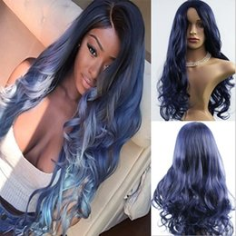 Wholesale Wig Dark Blue Long - Long Body Wave Synthetic Wig for Women Heat Resistant Wire Synthetic Cosplay Wig Mixed Color Wigs Dark Blue and Black 24inch