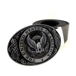 Wholesale american flag jeans for men - Black PU Leather Belt Men with USA Flag Eagle American Metal Buckle Cowboy Cintos Masculinos ceinture homme For Jeans