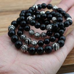 Perline per la produzione di fascette per gioielli online-Personalizzato argento 925 gioielli vintage argento antico americano fatto a mano designer nero agata perline fili braccialetto