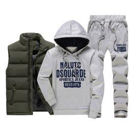 2019 hombres abajo de los pantalones MQIAOHAM Hombres Chándal con capucha Hombres Casual Active Suit Zipper Outwear Jacket + Pants Sets + Warm Down Chaleco Jacket Conjunto de tres piezas hombres abajo de los pantalones baratos