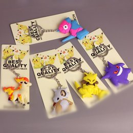 Wholesale party keyrings - Top New 5 Styles Abra Cubone Porygon Ponyta Gengar Anime Collectible Best Pendants Party Gifts Cartoon Keyrings
