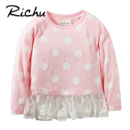 Wholesale Long Sleeve Shirts For Kids - Richu spring fall long sleeve t-shirt girls baby kids tops clothes for girls children lace blouse dot pattern toddler costume Made In China