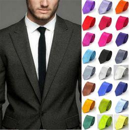 2019 ночные галстуки-бабочки Мода Мужчины Женщины тощий сплошной цвет равнина Сатин полиэстер шелковый галстук галстук галстук 30 цветов 5cmx145cm