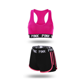 49d8663dd2f82 China Newest PINK Tracksuit girl Summer Sport Wear Cotton Yoga Suit Fitness  Bra Shorts Gym Top