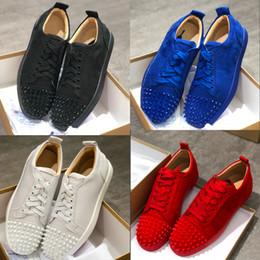 zapatos al por mayor para la boda Rebajas Diseñador al por mayor zapatos de punta Zapatos de gamuza de ante inferiores de ante rojo Zapatos de tacón bajo Zapatillas de deporte de cristal de la boda del partido de lujo