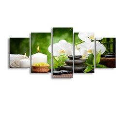 Wholesale Orchid Paintings Canvas - 5 pieces high-definition print orchid canvas oil painting poster and wall art living room picture PF5-005
