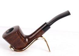 Tubos de fumo de ébano on-line-Ebony Handmade ebony pipe Tubos de madeira maciça Smoking accessories