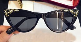 Wholesale Frames Carving - New fashion designer sunglasses 3807 charming cat eye small frame carved patterns avant-garde popular style top quality