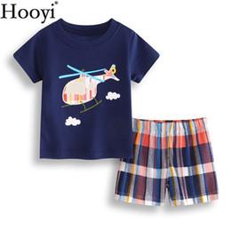18 trajes de bebe 24 meses online-Traje de la ropa del bebé del helicóptero 6 9 12 18 24 meses Sistemas de la ropa del recién nacido Niños Camiseta Pantalón Traje de verano Suave 100% Algodón