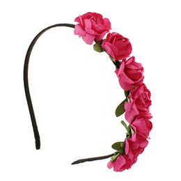 Wholesale Hairband For Bride - 100pcs lot Handmade Women Headbands Paper Flowers Hairband More Colors Handbands For Bride Wedding Wear