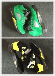 Wholesale apple canvas - High Quality 2018 New 5 QS Oregon Ducks Mens Basketball Shoes JumpDucks Apple Green Yellow Strike-Black Sport Shoe Breathable Brand Sneakers