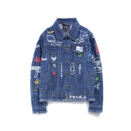 Wholesale Black Color Paint - Graffiti Hand Painted Women Men Denim Jackets Mens 2017 Harajuku Printed Jeans Coat Hip Hop Casual Denim Jacket Coats Black Blue M-2XL