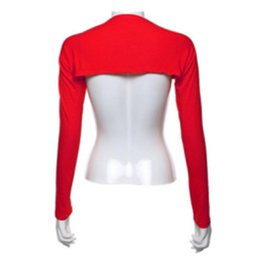 Wholesale Cotton Shrugs - Hayaa Fashion One Piece Sleeves Arm Cover Shrug Bolero Hijab Muslim Red