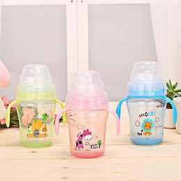 Wholesale Print Water Bottles - 2018 Baby Bottles Straw Cup with Handle Bottle Cups Children Drinking Water Straw Cup For Children Birthday Day Gift M3