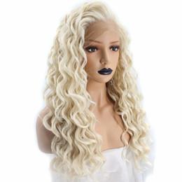 2019 platin spitze vorne perücken Kinky Curly Platinum Blonde Lace Front Perücke Synthetisches Haar Lange Spirale Locken Natürliche Haaransatz Synthetische Lacefront Perücken Für Weiße Frauen rabatt platin spitze vorne perücken