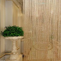 Perlas de cristal cortinas de la puerta online-Brillante Borla Cortina Perlas de Cristal Borla Seda Seda Cortina Ventana Puerta Divisor Pura Cortinas Cenefa Decoración para el hogar #ET