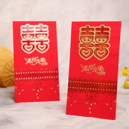 chinese envelopes Canada - 6pc lot Traditional Chinese Red Packet for Wedding Red Packet Wedding Celebration bronzing Envelope Packets 22.5x12.5cm