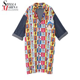 f4ce3d507b 2018 Korean Style Women Autumn Printed Denim Shirt Dress Full Sleeves Knee  Length Female Cute Wear Plus Size Cartoon Dress 3914