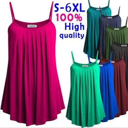 Wholesale Spaghetti Strap Tank Dress - Summer Women Spaghetti Strap Solid Color Tank Tops S-6XL Slip Mini Vest Dress Tops Vests OOA3869
