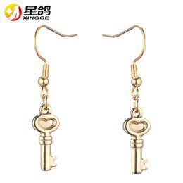 Wholesale Indian Silver Earings - silver gold color Key Drop Earrings European Style Jewellery stainless steel Key Earings Cute Romantic Gift for Women Office Ladies