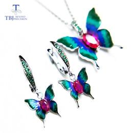 TBJ, nouvel émail animal zircon cubique ensemble de bijoux vif papillon conception pendentif boucle d'oreille en argent sterling 925 pour les femmes ? partir de fabricateur