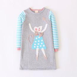 c4e38f9a559d Cartoon Pull Robe À Manches Longues Nouveau Design Filles Knittted Robe En Laine  Pulls à Rayures pour Bébé Enfants Hiver Vêtements Chauds