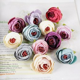 Wholesale Rose Garden Colors - Wholesales 16 Colors Tea Rose Bud 5cm Peony Fake Bridal Bouquets Silk Flowers Head Party Decoration Garden Decor
