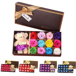 Wholesale Wholesale Valentines Teddy Bears - Romantic Rose Soap Flower With Little Cute Bear Doll 12pcs Box Gift For Valentine Day for Wedding or Birthday Gifts Wholesale OTH793