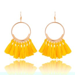 Wholesale Hanging Earrings - 2018 Fashion Bohemian Ethnic Fringed Tassel Earrings for Women Golden Round Circle Ring Dangle Hanging Drop Earrings Jewelry