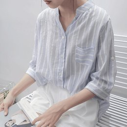 b313c57a6011 Women Blouses Shirt Female 2019 New Autumn Cotton Linen Casual Striped 3 4  Sleeve Shirt Women Tops Ladies Clothing S-2XL Blusas