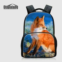 lindas mochilas para mujeres universitarias Rebajas Fox lindo Impreso escuela Mochila para portátil Colegio ocasional de las mujeres Daily Daypacks lienzo mochilas Mochila Animal Rugtas bagpacks personalidad