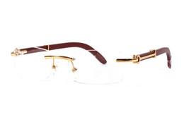 Wholesale round bamboo box - Luxury brand sunglasses for men women buffalo horn glasses rimless designer bamboo wood sunglasses with box case lunettes