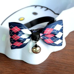 Wholesale Piece Apparel - 2018 Newest Pet Dog bow tie Cat Dogs neckties Bells Headdress Adjustable Collars Leashes Apparel Christmas Decorations Ornaments Free TNT Fe