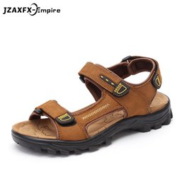 Wholesale Chocolate Footwear - Men Casual Beach Sandals Handmade Genuine Leather Summer Shoes Retro Sewing Classics Men Fashion Footwear Zapatos Hombre