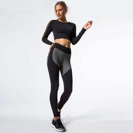 Wholesale Power Fitness - JIGERJOGER 2017 New long sleeve mesh side patches tank tops Hip grey heart leggings suit power fitness activewear sportswear set