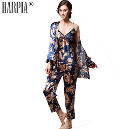 Conjuntos de pijama sexy feminino on-line-3 Peças Conjuntos Pijama Mulheres Pijama De Seda Sexy Lady Nightwear Pijama Feminino Sexy Camisola Lingerie Plus Size xxxl Pijama Femme