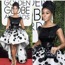Wholesale vintage black globe - Sexy Janelle Monae Celebrity Party Dresses Ball Gown Black and White Sequins Handmade Flowers Tulle 2017 New Golden Globe Prom Evening Gowns