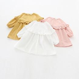 Wholesale Elegant Lolita - INS styles new arrival Girl dress kids spring long sleeve solid clor round collar ruffles dress girl elegant dress 3 colors free ship