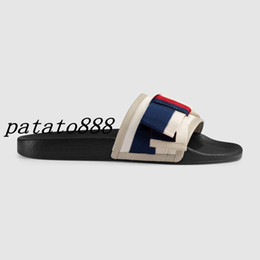 Wholesale Leather Bow Flats - 2018 mens and womens fashion 10MM Satin slide FLATS slide sandals with Web bow summer outdoor beach flat flip flops adults slippers