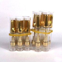 Wholesale Tank Leak - CCELL Gold Ceramic mouth wax oil cartridge .5ml 1ml Ceramic coil Bud Touch Glass Tank 2mm intake holes thick oil no leak atomizer