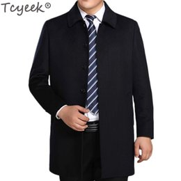 Wholesale age breast - Tcyeek Winter Men's Woolen Jackets Turn-down Collar Men Wool Coat Middle aged Wool & Blends Casual Male Casaco Masculino HH145